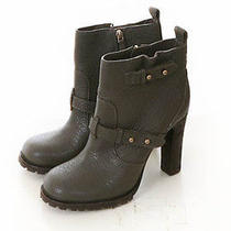 Tory Burch Nwob 450 Gray Pebbled Leather Ankle Boots 10.5 M Photo