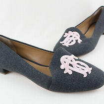 Tory Burch Nwob Gray Felt Blush Pink Logo Embroidered Loafers Flats Size 7 Photo