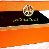 Tory Burch Orange Cosmetic Handbag Box Bag Faux Leather Case Container Gold Sign Photo