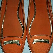 Tory Burch Orange Linen Flats With Gold Metallic Bow Size 7.5 Photo