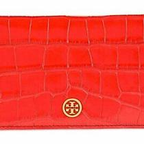 Tory Burch Parker Croc-Embossed Fold-Able Card Case  One Size  Kir Royale Photo