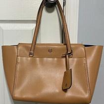 Tory Burch Parker Leather Tote Tan With Navy Interior- Lightly Used Photo