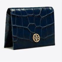 Tory Burch Parker Navy Blue Crock Embossed Leather Foldable Card Case 128.00 Photo