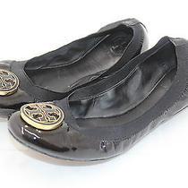 Tory Burch Patent Caroline Ballerina Ballet Flats Black Leather Gold Logo 9.5 M Photo