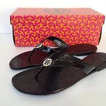 Tory Burch Patent Leather Thora Sandals Flip Flops Sz 11 M Black Photo