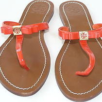 Tory Burch Patent Orange Leather 8.5 Leighanne Women Bow Thong Sandals 150 Photo