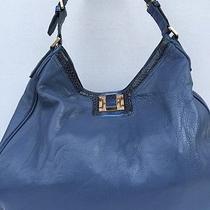 Tory Burch Pebble Leather Satchel Hobo Shoulder Bag Slate Blue Store Demo  Photo