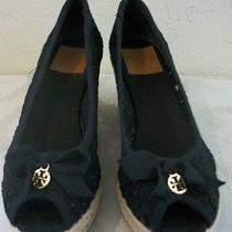 Tory Burch Peep Toe Jackie Espadrille Sandal Wedge Crochet Size 9.5 Photo
