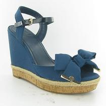 Tory Burch Penny Navy Wedge Sandal Womens Size 10.5 M New 295 Photo