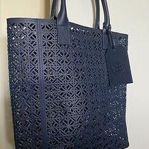 Tory Burch Perforated Tote / Handbag W/ Luggage Tag- Navy (Brand New) Photo
