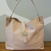 Tory Burch Plaque Blush Pink Pebble Leather Large Hobo Shoulder Bag Photo