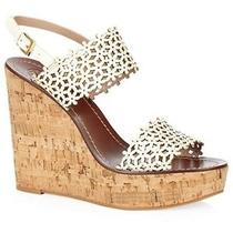 Tory Burch Platform Wedge Sandals Daisy Perforated Wedge Heels Size 10 Ivory New Photo