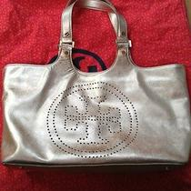 Tory Burch Platinum Gold Metallic Saffiano Tote Photo
