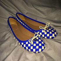Tory Burch Prescot 3 Woven Leather Bow Ballet Flats Size 7 New Without Box Blue Photo