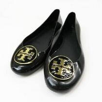 Tory Burch Pumps Flat Sole Shoes Black Gold Round Toe Woman Size 7mm2136 Photo