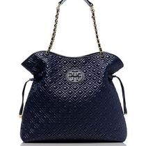 Tory Burch Quilted Marion Slouchy Tote Normandy Blue Photo