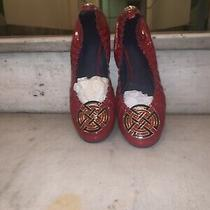 Tory Burch Red/ Navy Accent Patent Leather Ballet Flats Sz 9.5 Eeuc Photo