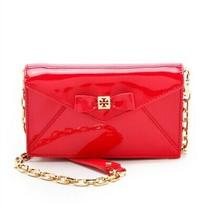 Tory Burch Red Patent Leather Envelope Bow Clutch Photo