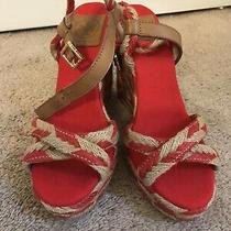 Tory Burch Red & Tan Wedges Size 8 Photo
