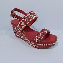 Tory Burch Red & White Leather Open Toe Sandal Platform Wedge Sz 7b Photo
