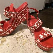 Tory Burch Reena Wedge Red and White Platform Sandals 11 Photo