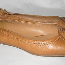 Tory Burch Reva Ballerina Flat Royal Tan Leather Size 8.5 Photo