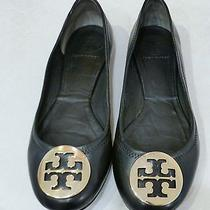 Tory Burch Reva Ballerina Flats Black Leather Gold Medallion Logo Size 7.5 Photo