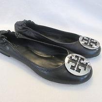 Tory Burch 'Reva' Ballet Flats Black/silver Size 8.5 Excellent 225 50008690 Photo