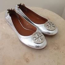 Tory Burch Reva Ballet Flats  Craquelee Mirror Metallic Leather Silver Sz 8 New Photo