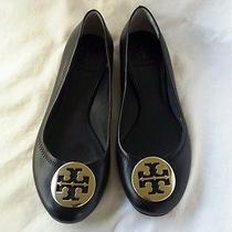 Tory Burch Reva Black Ballet Flats Shoes With Gold Emblem Sz 8m Photo