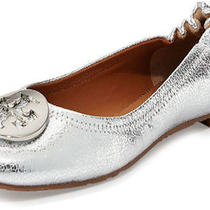 Tory Burch Reva Crackled Ballerina Ballet Flat Shoes Silver 12 235 Photo