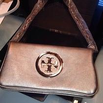 Tory Burch Reva Leather Clutch/purse - Gold/pewter - Nwot Photo