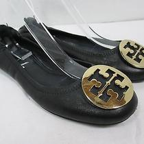 Tory Burch Reva Medallion Ballet Flats Black Elastic Back Sz 8.5m  Photo