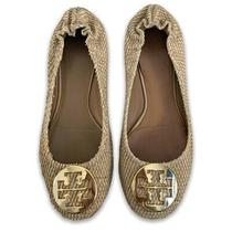 Tory Burch Reva Patent Leather Snake Animal Embossed Flats Shoes 10 Tan Beige  Photo