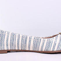 Tory Burch Reva Printed Ballet Flat Sz 9.5 in Piano Stripe Blue/gold Photo