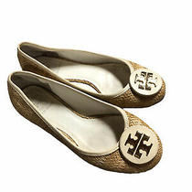 Tory Burch Reva Raffia Woven Straw Ballet Flats Tan Gold Slip-on Shoes Sz 7 Photo