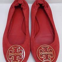 Tory Burch Reva Red Suede Logo Detail Ballet Flats Shoes Size 9 Photo
