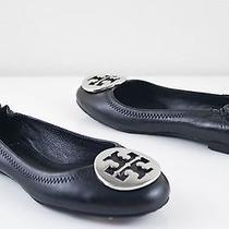 Tory Burch Reva Silver Logo Black Ballet Flat Womens Shoes Size Us 4.5  Photo