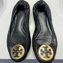 Tory Burch Reva Womens Size 8 Black Leather Ballet Flats Shoes Slip on Gold Photo