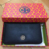 Tory Burch Robinson Continental Zip Around Leather Wallet for Iphone 4  5s Black Photo
