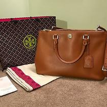 Tory Burch Robinson Double Zip Luggage Brown Saffino Leather Tote Crossbody Photo