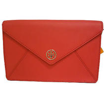 Tory Burch Robinson Envelope Clutch Rouge Red Photo
