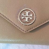 Tory Burch Robinson Envelope Leather Wristlet Clutch/wallet Toasted Wheat Nwt Photo
