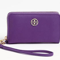 Tory Burch Robinson Leather Purple Phone Iphone Case Wallet Clutch Phone 155 Photo