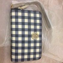 Tory Burch Robinson Smartphone Iphone Wristlet Wallet Gingham Navy Nwt Photo