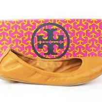 Tory Burch Royal Tan Lamb Leather Eddie Ballet Flats Size 6.5 Retail 178 W/ Box Photo