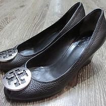 Tory Burch Sally 2 Peep Toe Black Wedge Pump Leather Heels Silver Logo 7 M  Photo