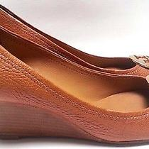 Tory Burch Sally 2 Peep Toe Pumps Royal Tan Leather Size 8 Photo