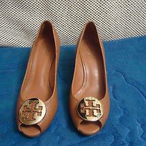 Tory Burch 'Sally' Peep-Toe Wedge Brown Leather Gold Logo Size 7 M Photo