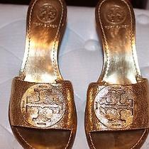 Tory Burch Sandals Mules Slip on Gold 6-1/2 Photo